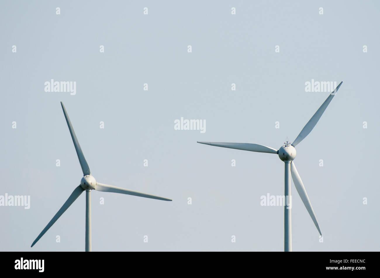 Two wind turbines - Stock Image