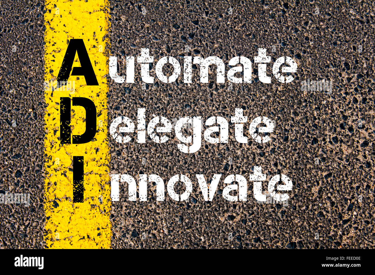 Concept image of Business Acronym ADI Automate, Delegate, Innovate written over road marking yellow paint line. - Stock Image