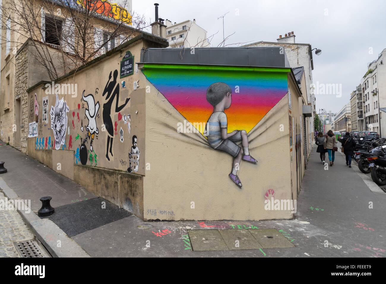 La Butte Aux Cailles Photos street art in la butte aux cailles, paris, france stock