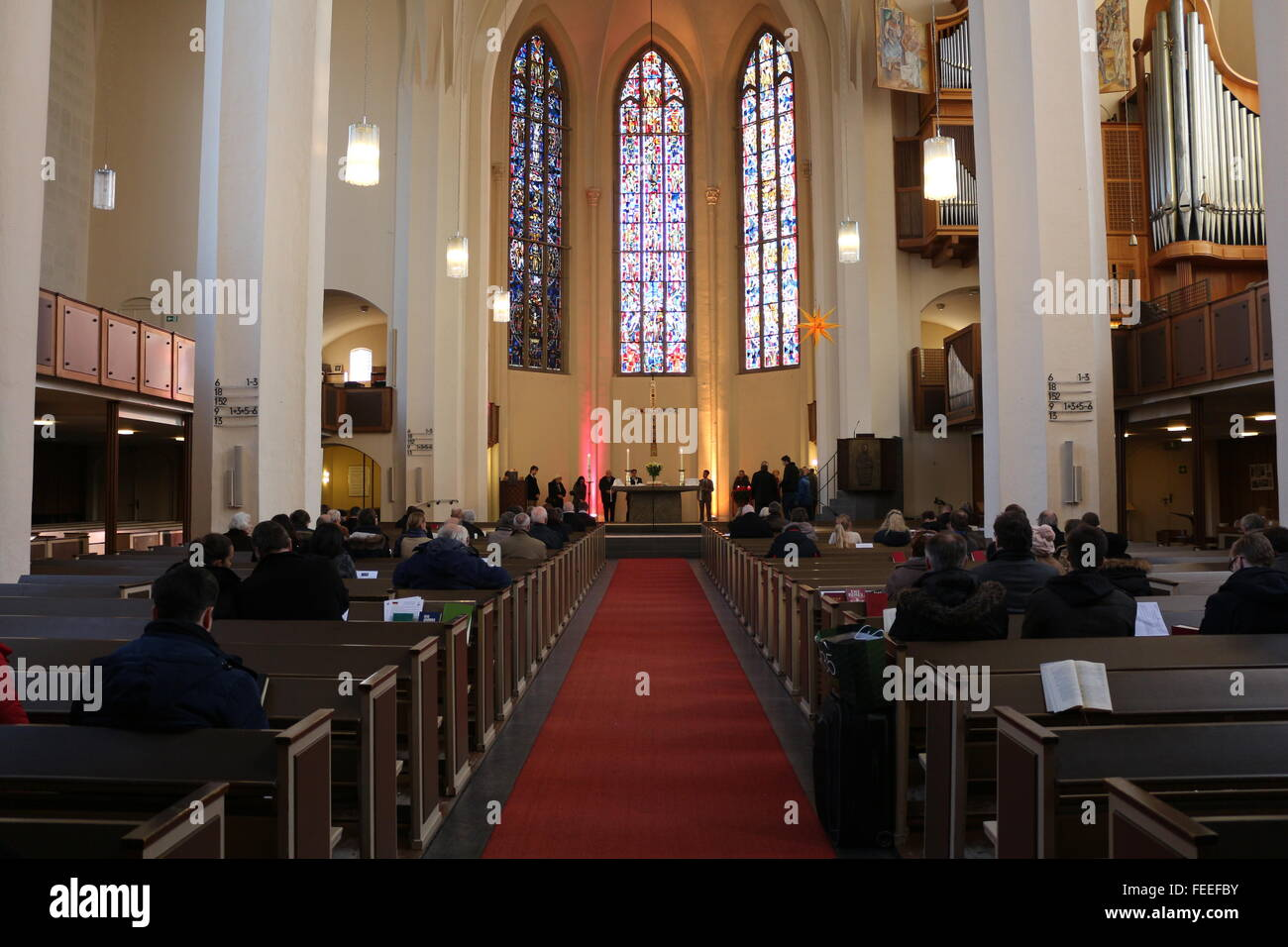 look into the Protestant Church 'Kreuzkirche' in Bonn, Germany - Stock Image