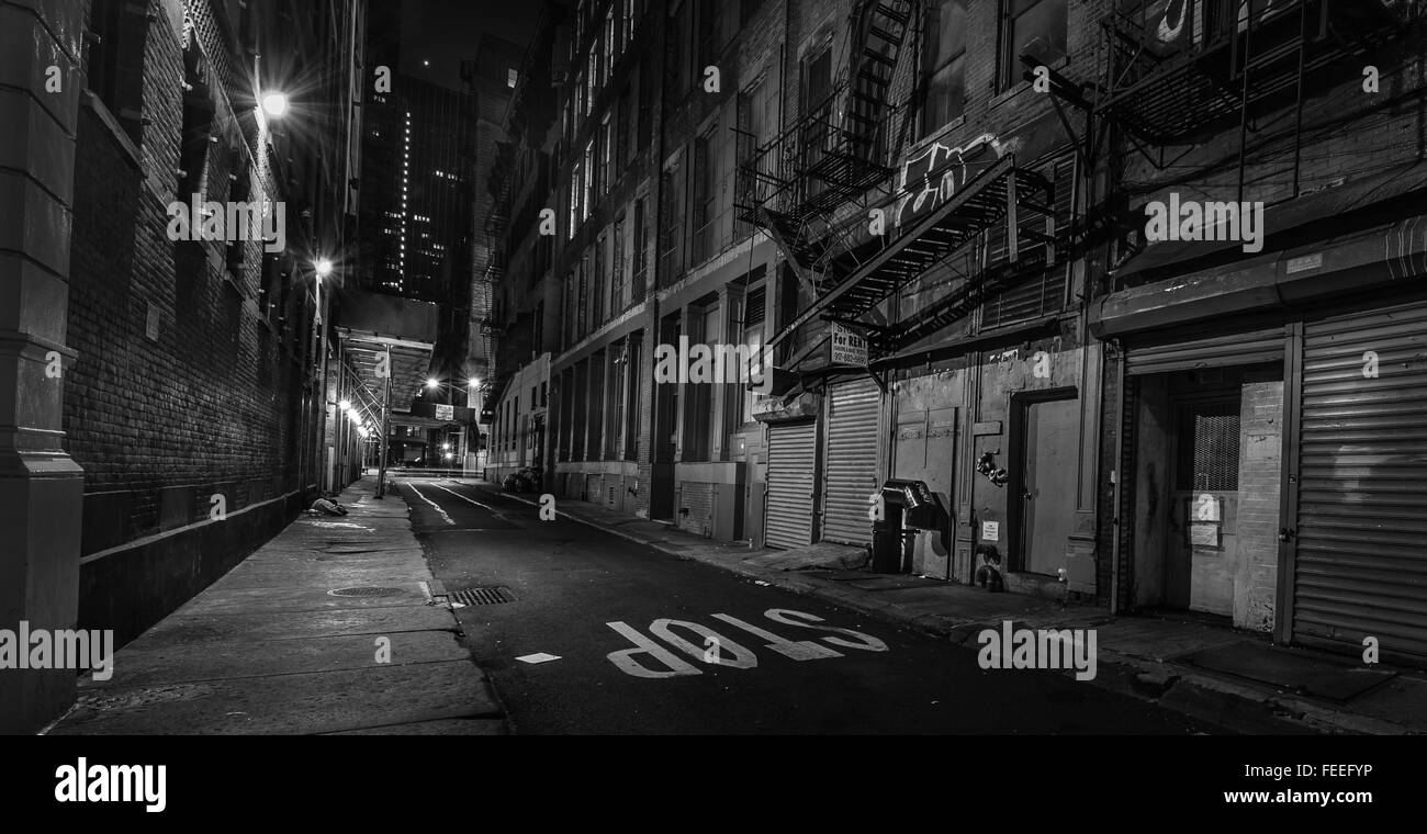 B&W Night images of street in the Bronx New York Stock Photo