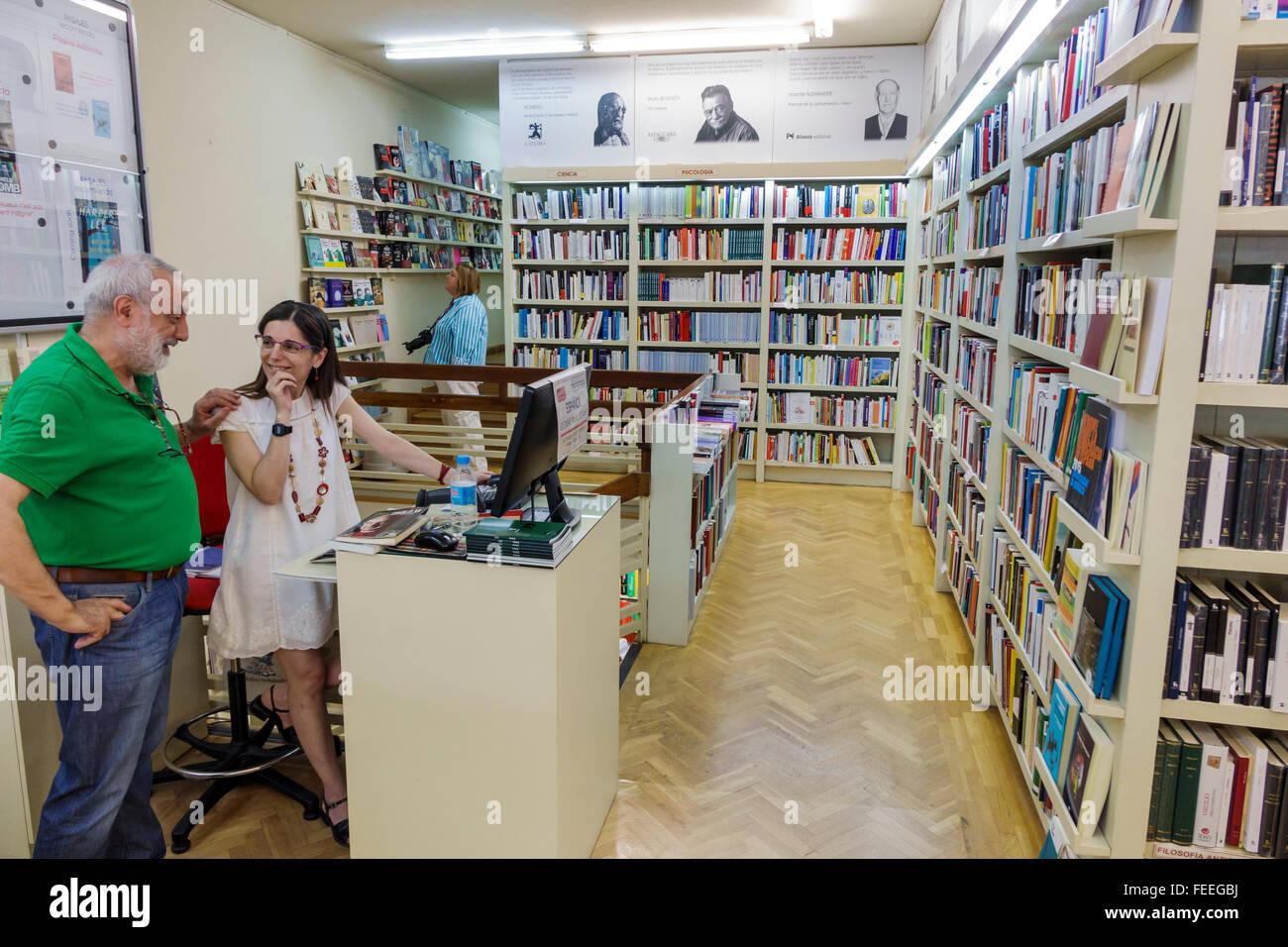 Madrid Spain Europe Spanish Hispanic Chamberi Calle de Genova PASAJES Libreria Internacional bookstore bookseller - Stock Image