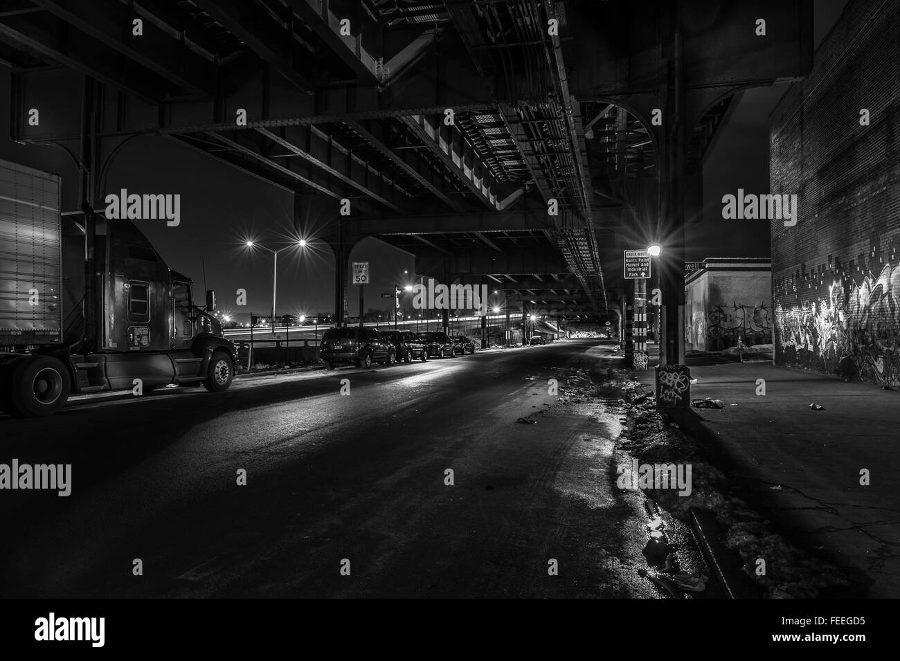 B&W Night images of street in the Bronx New York - Stock Image