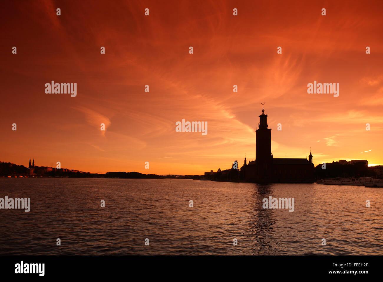 Stockholm City Hall at sunset, Sweden - Stock Image