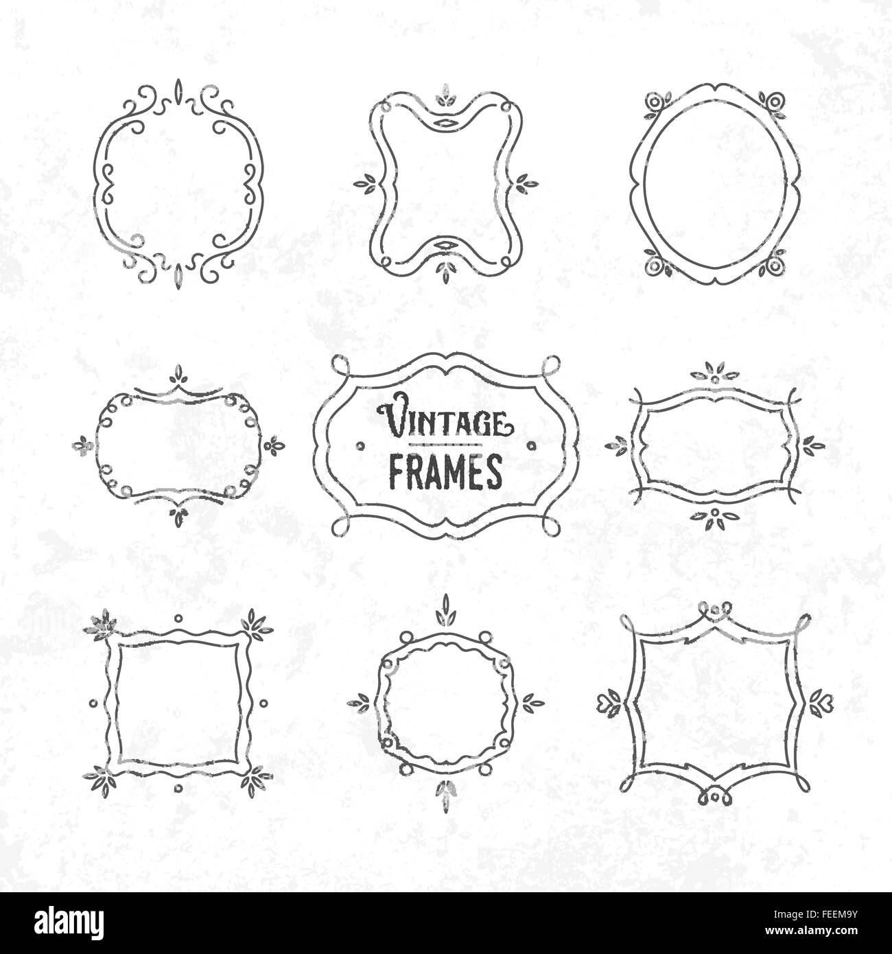 Set of 9 cute vintage frames of different orientations and formats ...