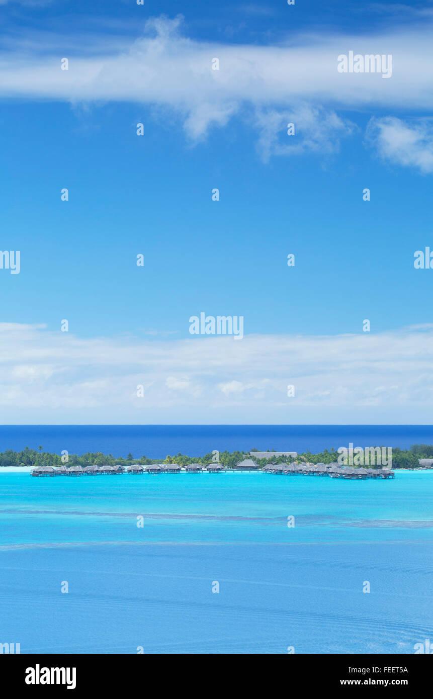 St Regis Resort, Bora Bora, Society Islands, French Polynesia - Stock Image