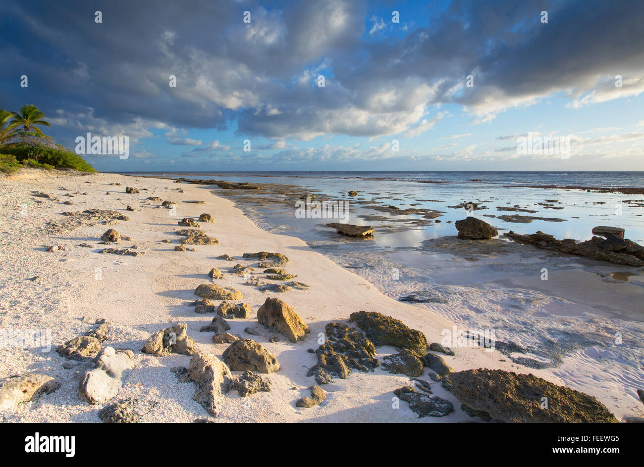 Beach at sunrise, Fakarava, Tuamotu Islands, French Polynesia - Stock Image