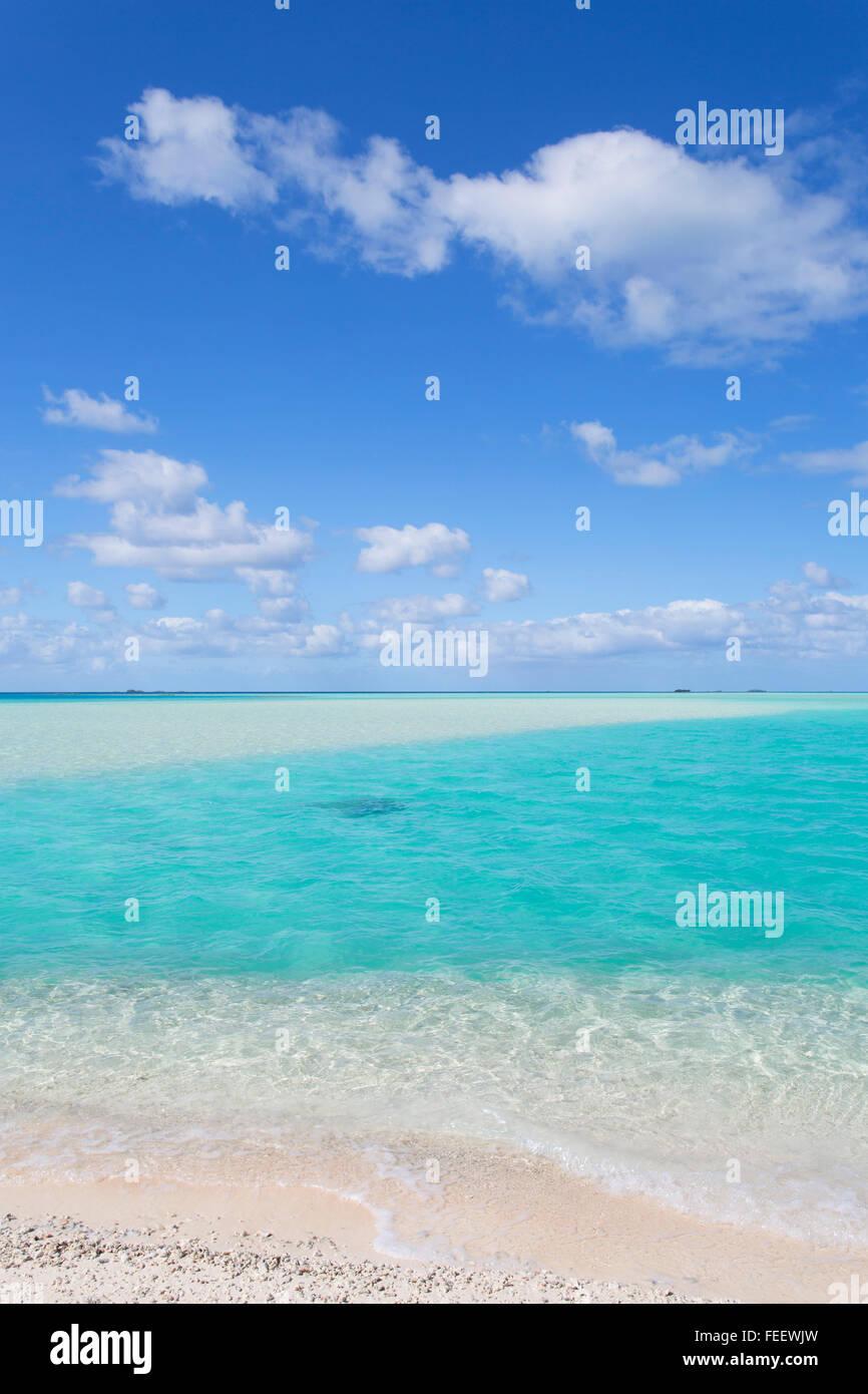 Blue Lagoon, Fakarava, Tuamotu Islands, French Polynesia - Stock Image