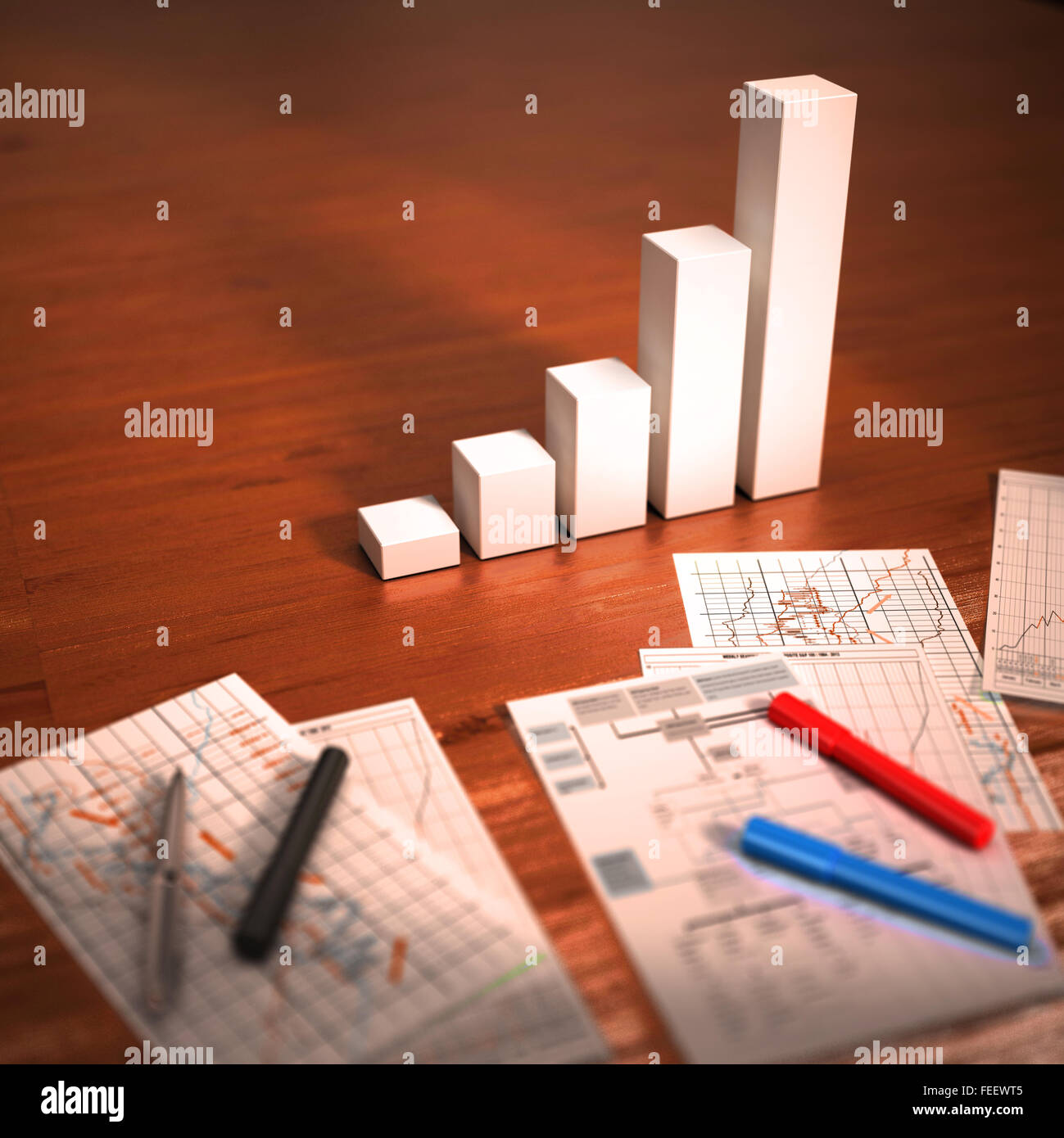 Colorful graphs, charts, marketing research and business annual report background on wooden table.  Financial 3d - Stock Image