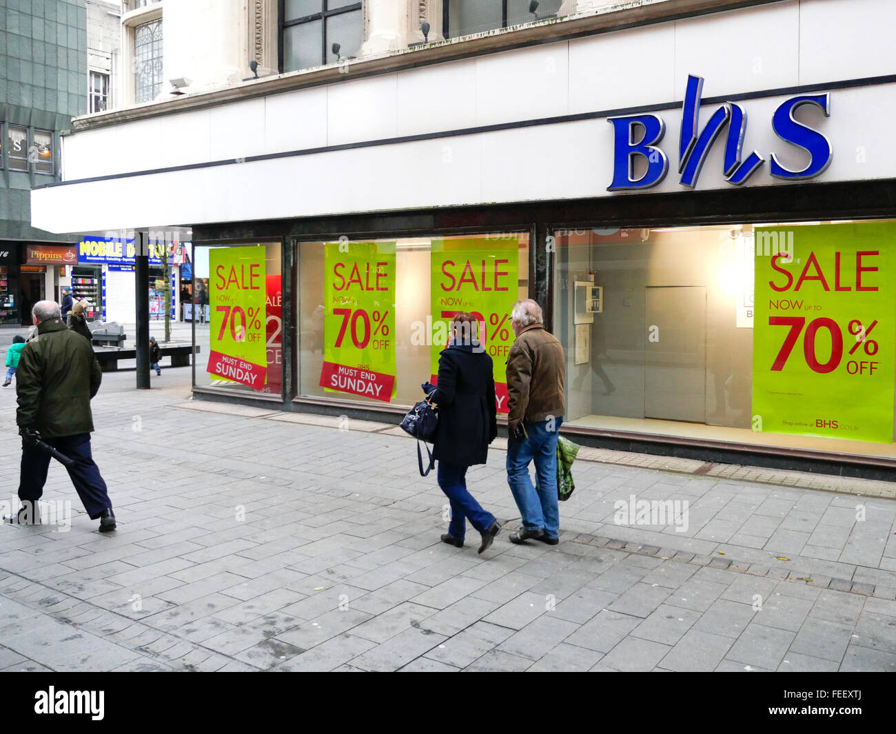 British Home Stores Shop displays a sale promotion in Southport during the January Sales. Stock Photo