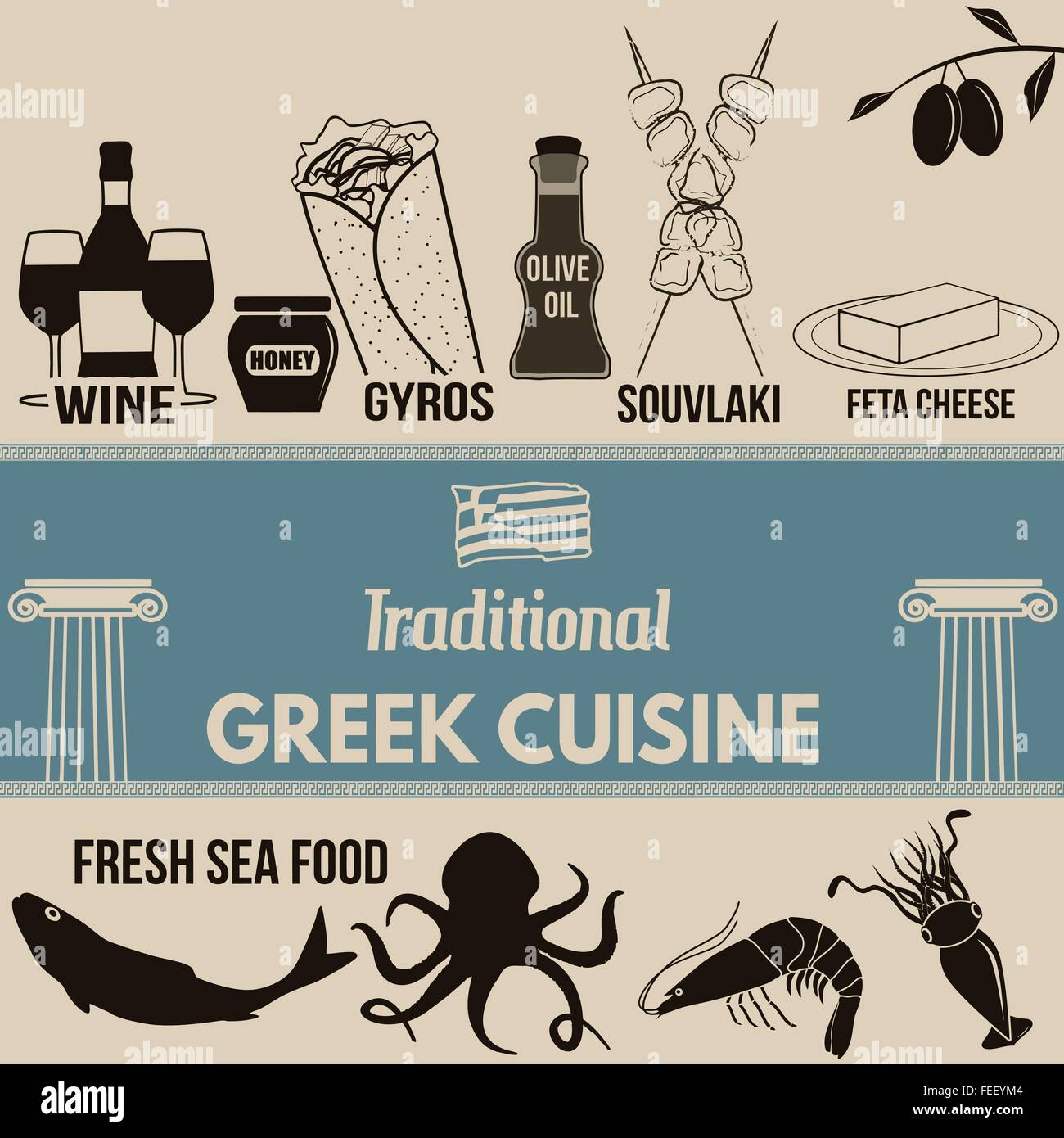 Traditional greek cuisine poster with greek food elements on retro background , vector illustration - Stock Vector