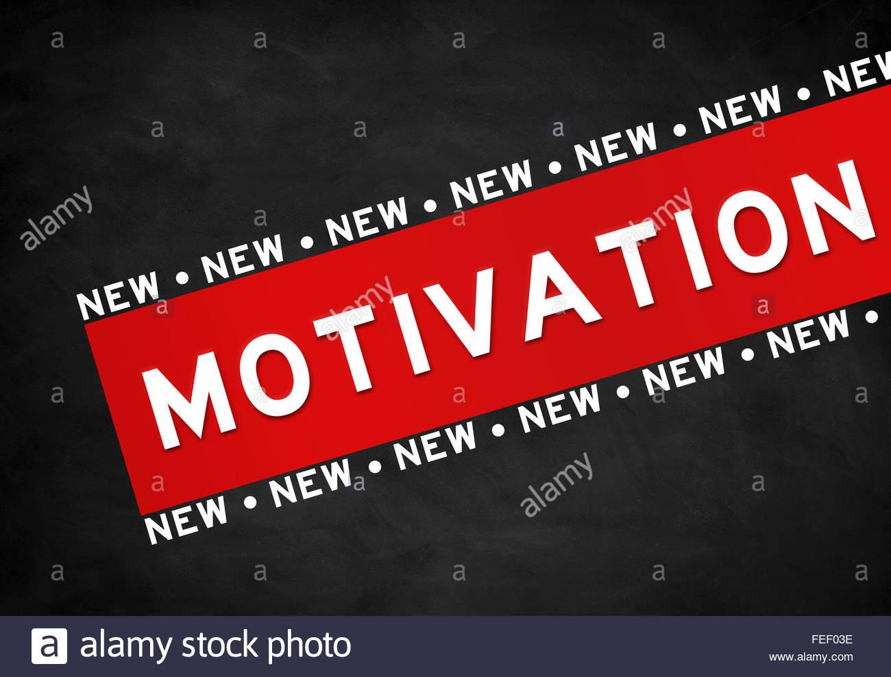 Motivation - chalkboard illustration - Stock Image