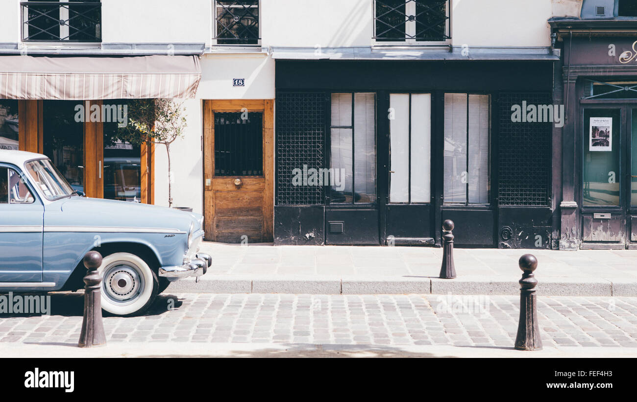 Old car in parisian street Stock Photo