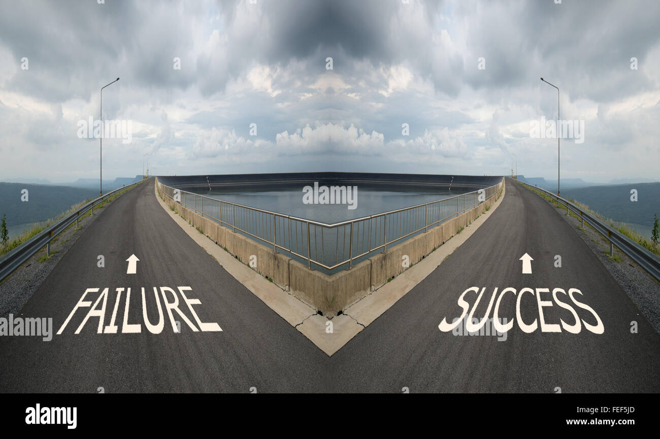 Concept of choice with crossroads spliting in two ways, choose Failure or Success road the correct way - Stock Image