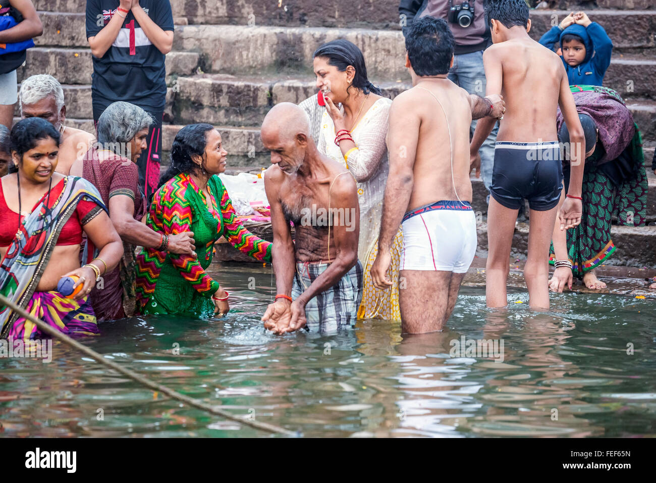 pilgrim, Varanasi, Ganges, Uttar Pradesh, India, South Asia - Stock Image