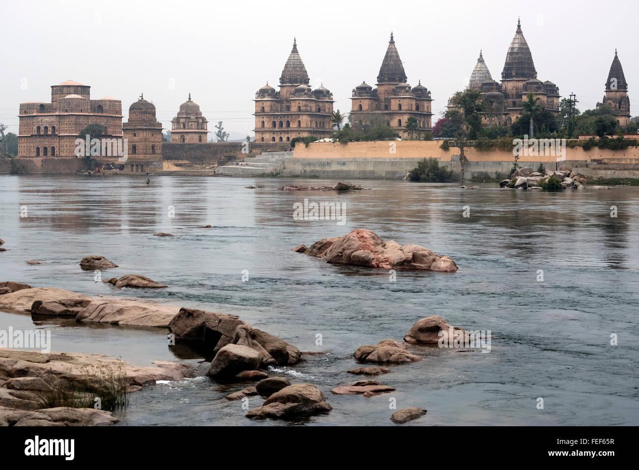 Cenotaphs, Orchha, Madhya Pradesh, India, South Asia - Stock Image
