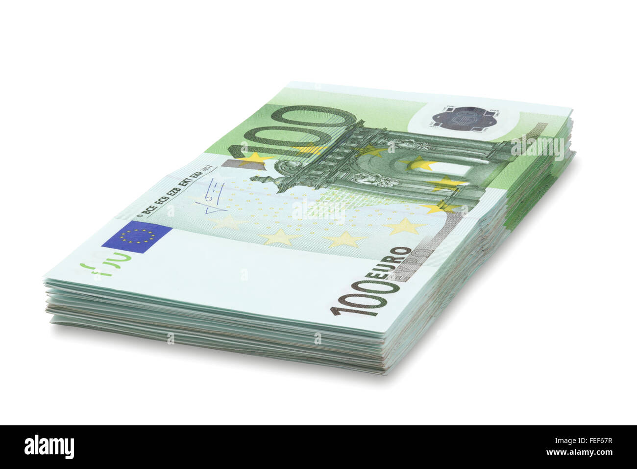 Pile of one hundred euro banknotes, isolated on the white background, clipping path included. Full focus. - Stock Image