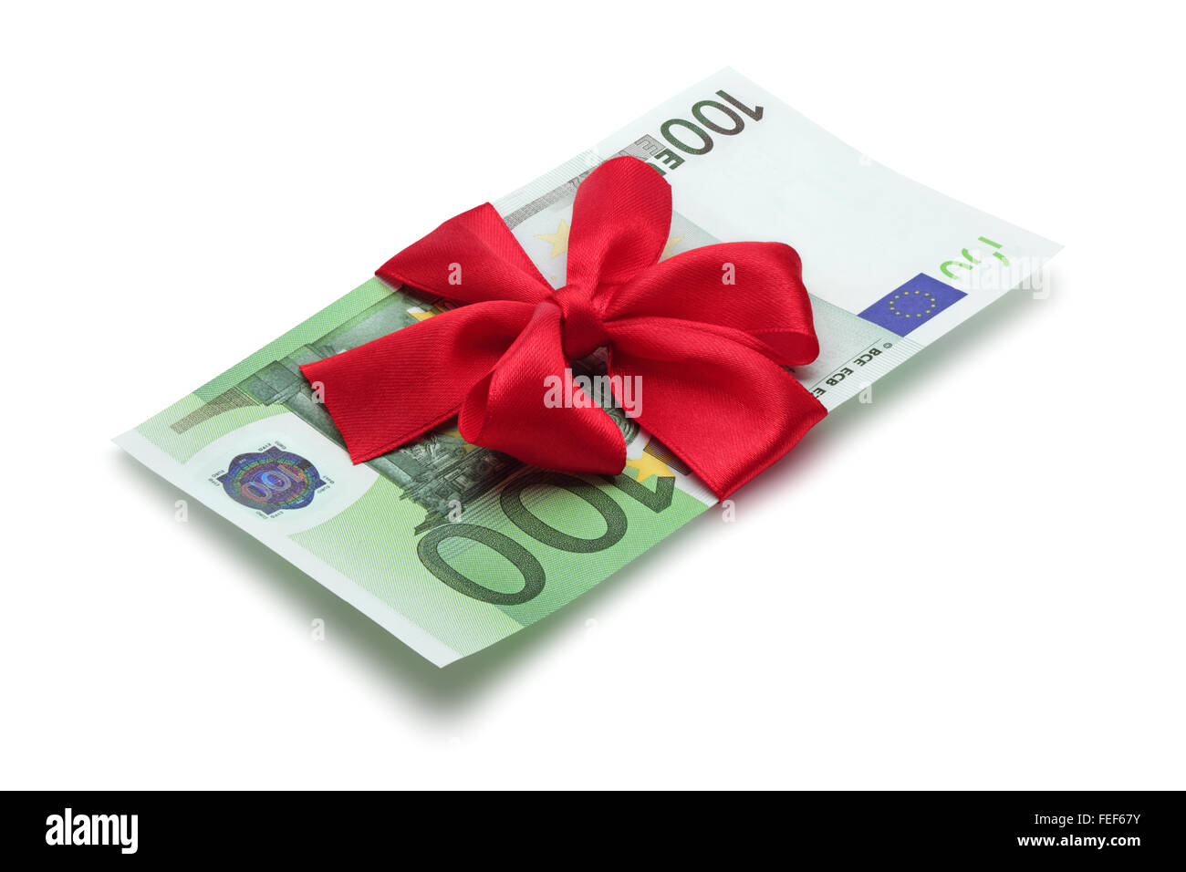 One hundred euro banknote with red bow, isolated on the white background, clipping path included. Stock Photo