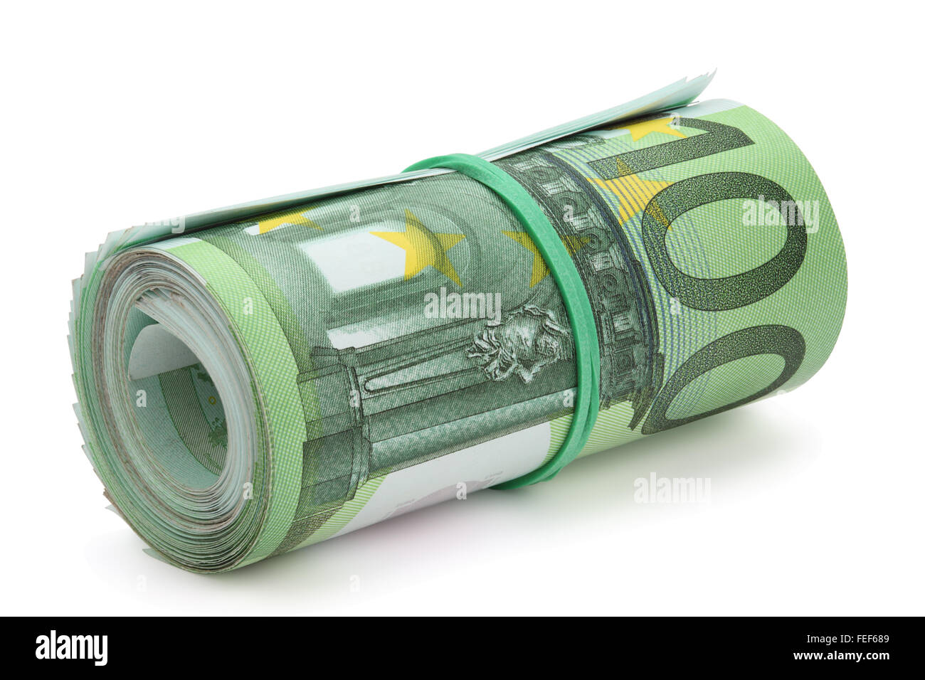 Roll of one hundred euro banknotes with a rubber band, isolated on the white background, clipping path included. - Stock Image