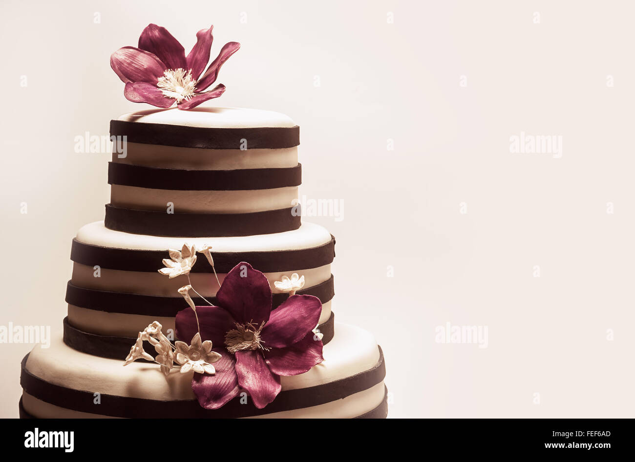 Details of a wedding or a birthday cake, triple size, in studio on white background. Purple sugar flowers as main - Stock Image
