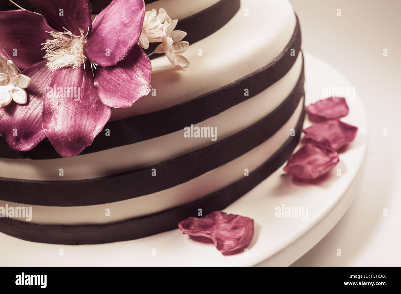 Details Of A Wedding Or A Birthday Cake Triple Size In Studio On