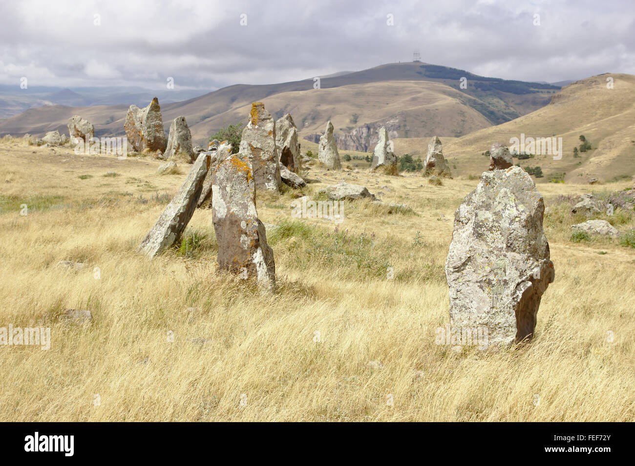 Zorats Karer stone circle near Sisian in Armenia - Stock Image