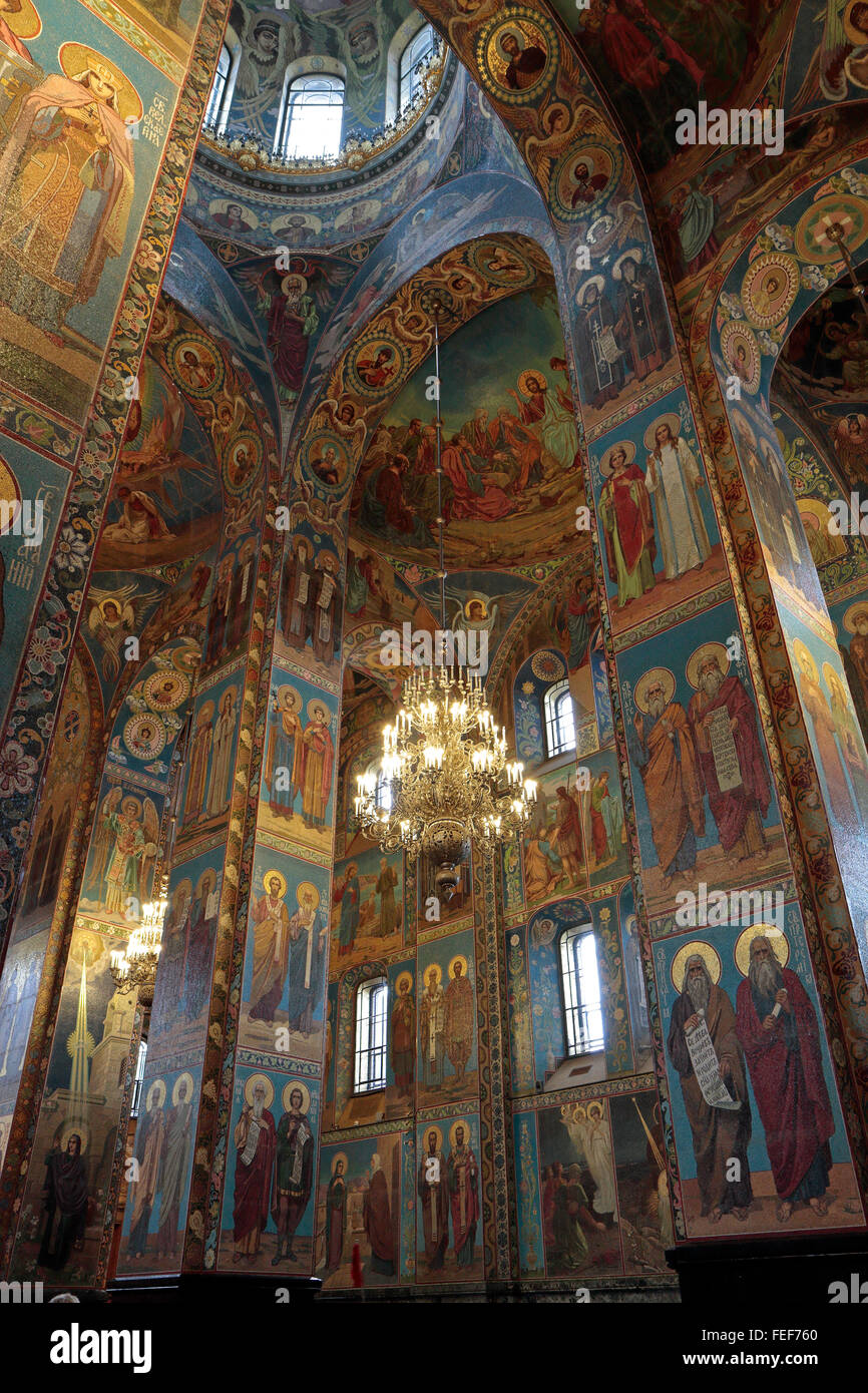 View looking up at the painted columns, walls & ceiling inside the Church of the Savior on Spilled Blood, St - Stock Image