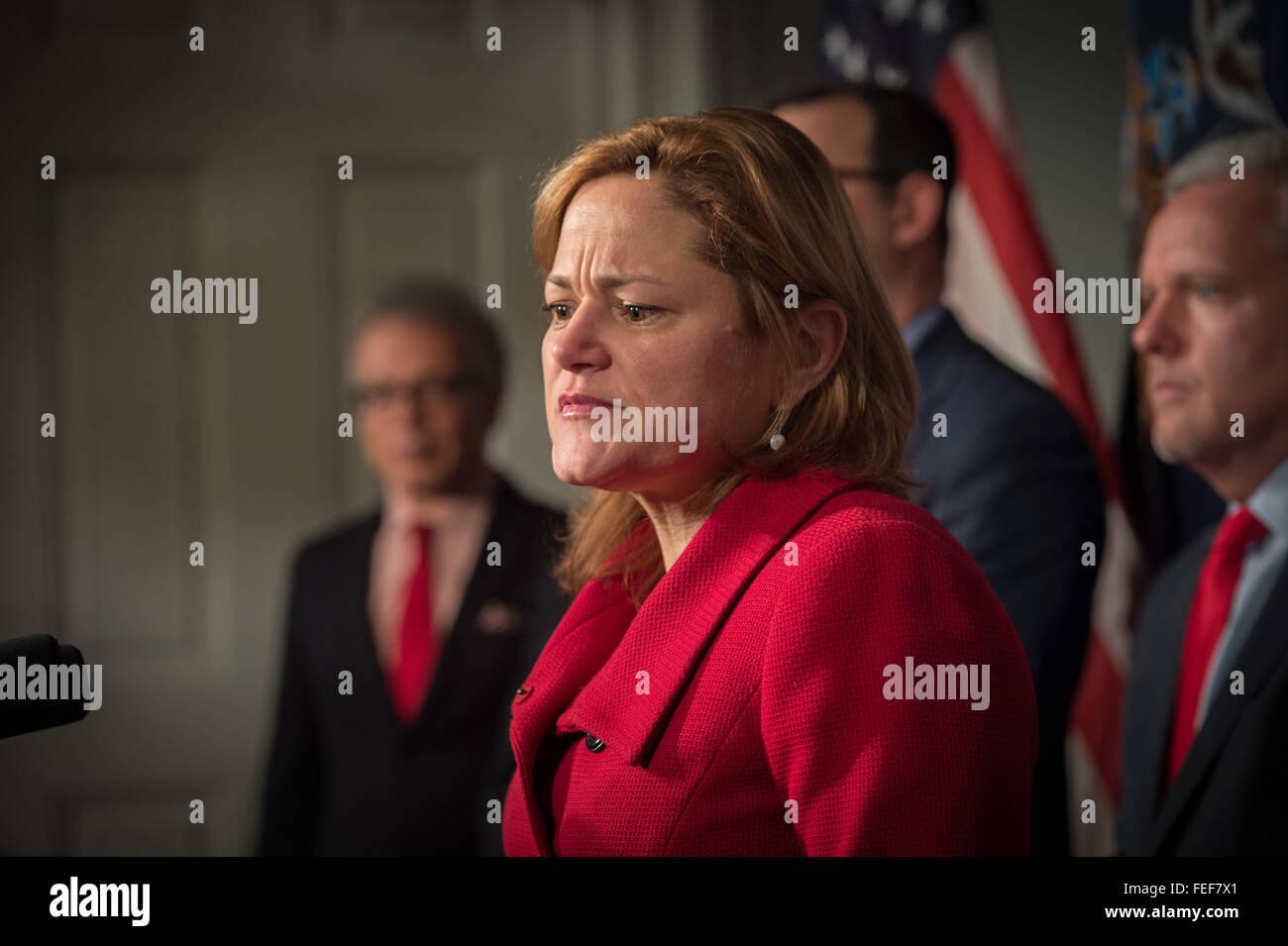 Feb. 5, 2016 - New York, NY, U.S. - New York City Council Speaker MELISSA MARK-VIVERITO, joined by City Council Stock Photo