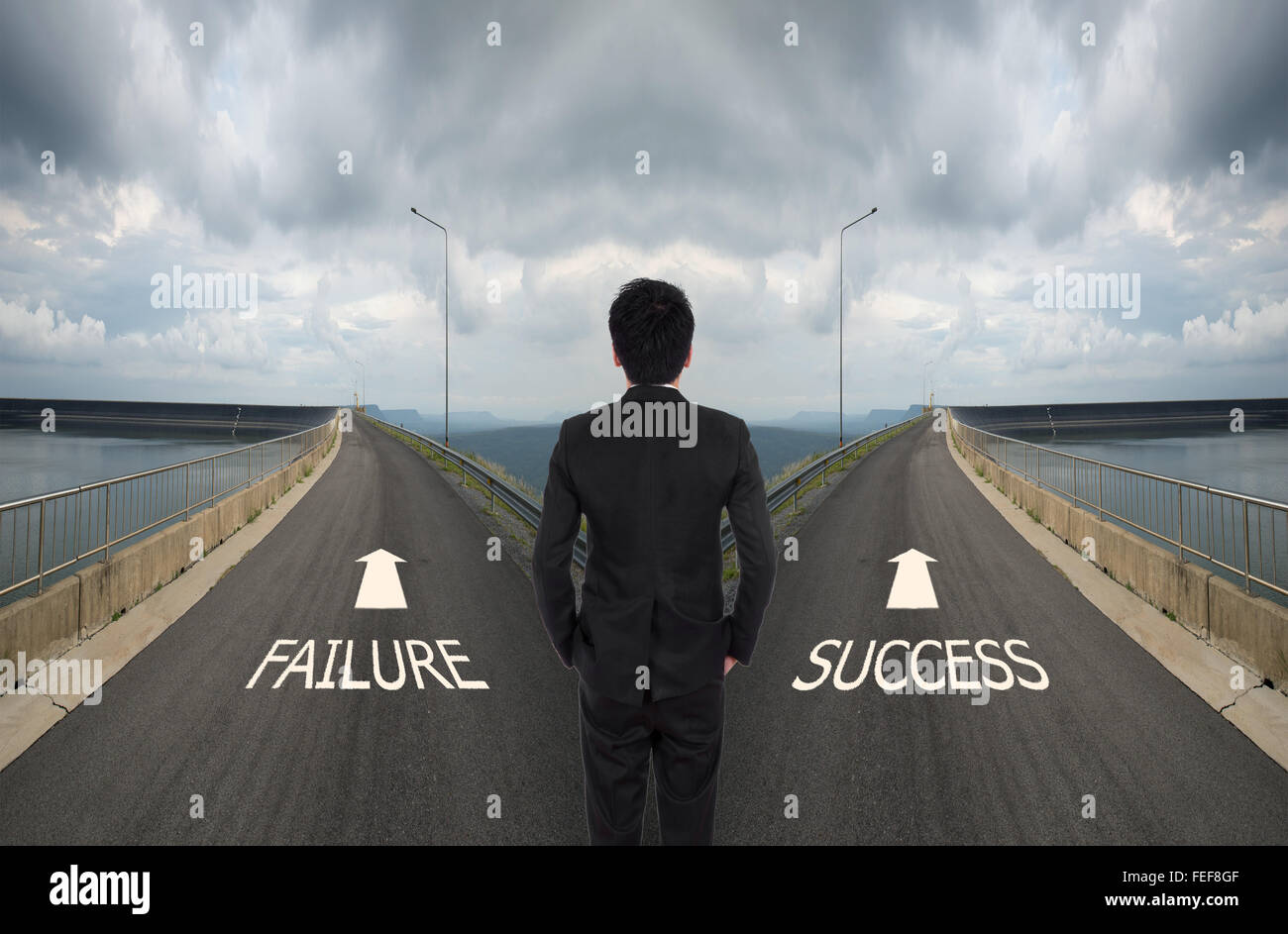 business man has to decide between two different way, choose Failure or Success road the correct way - Stock Image