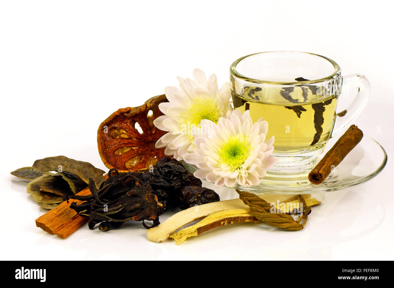 Chinese Tea With Chinese Herbal Medicine On White Background Stock