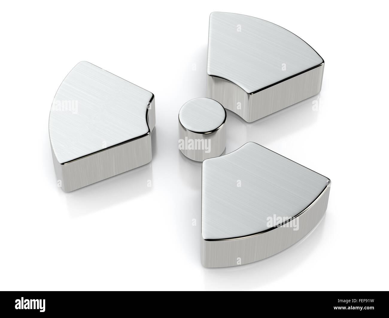 Metallic radiation symbol on a white background. - Stock Image