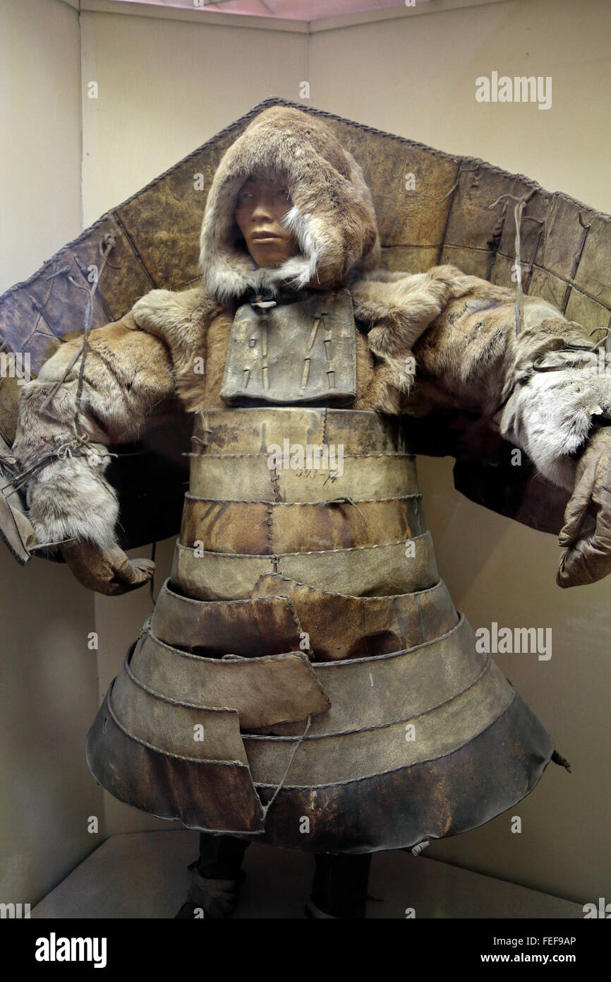 An Eskimo-warrior of Saint Lawrence Island in battle armor in the Kunstkamera museum in St Petersburg, Russia. - Stock Image