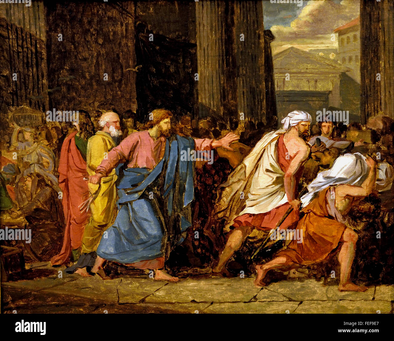 Jesus Driving the Merchants from the Temple 1784 Anne Louis Girodet Trioson1767 -1824 France French - Stock Image