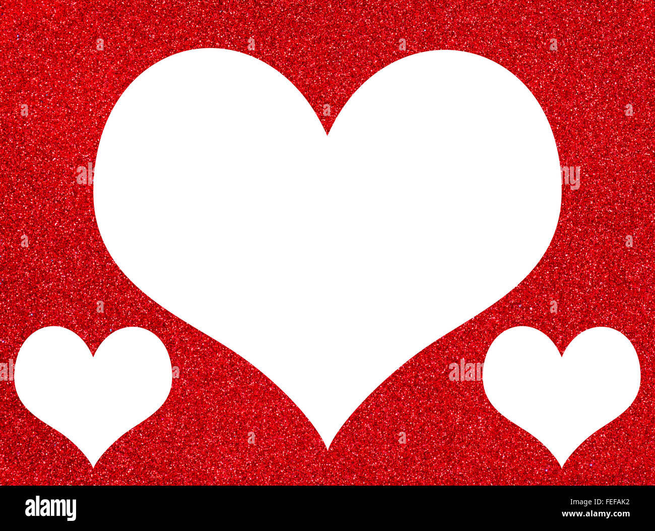 One Large Heart And Two Small On A Red Textured Glitter Background