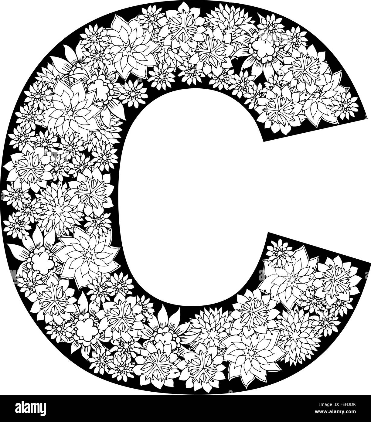 Hand Drawn Floral Alphabet Design  Letter C Stock Vector