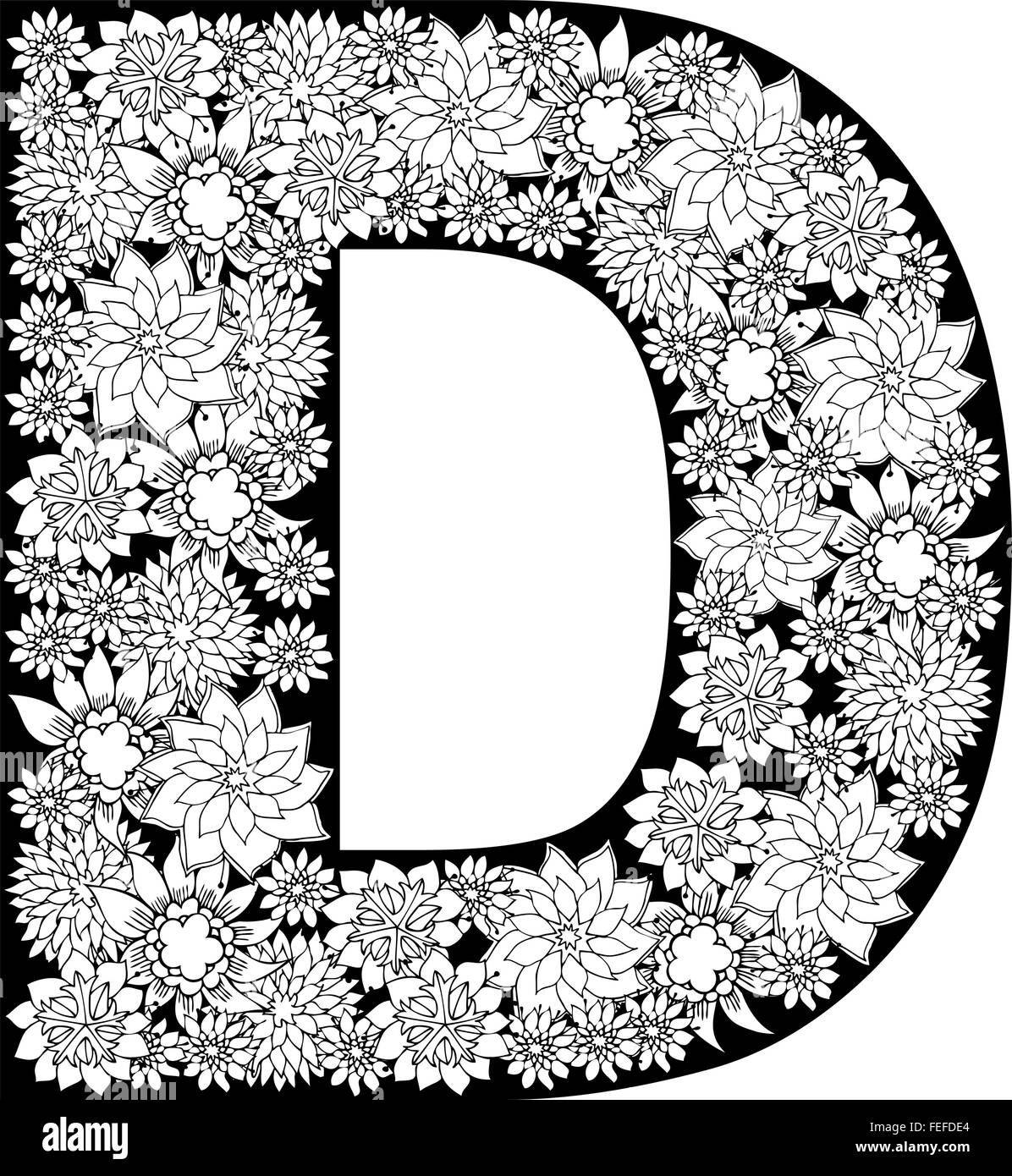 Hand Drawn Floral Alphabet Design  Letter D Stock Vector