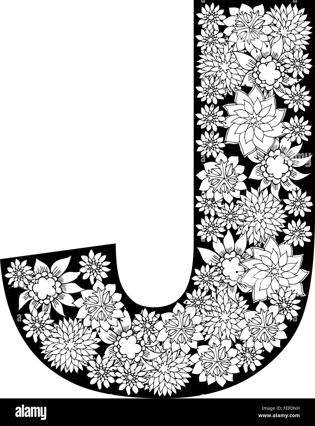 Hand Drawn Floral Alphabet Design  Letter J Stock Vector