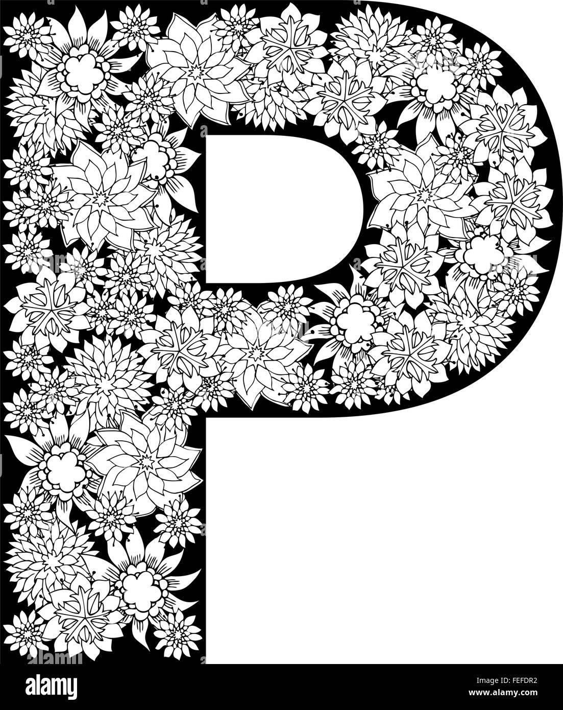 Hand Drawn Floral Alphabet Design Letter P