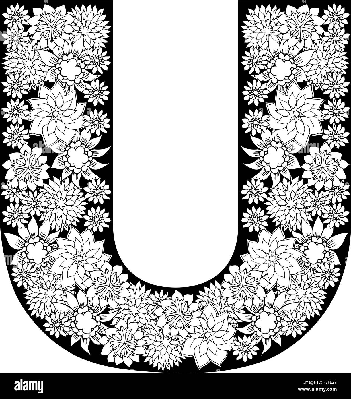Hand Drawn Floral Alphabet Design  Letter U Stock Vector