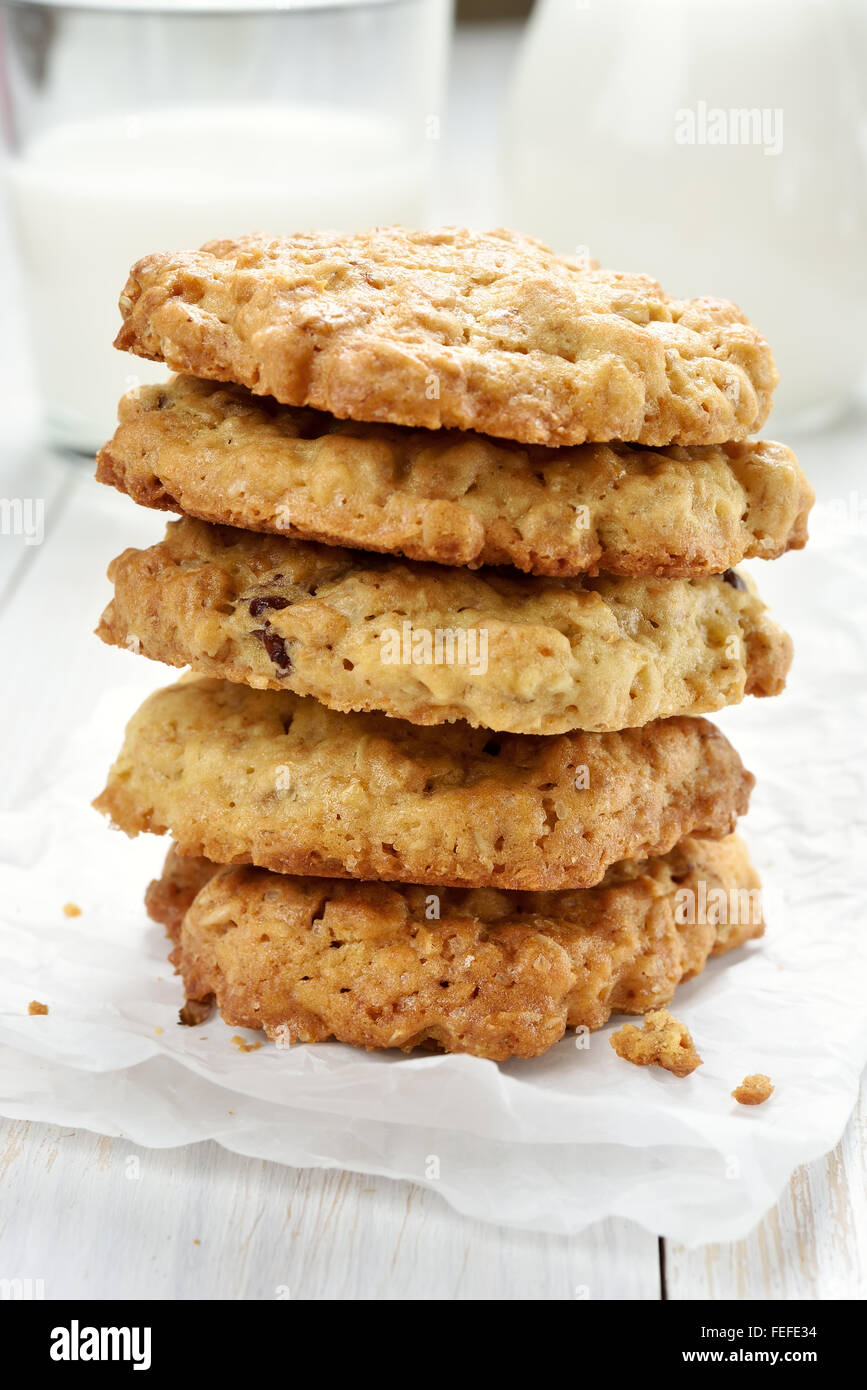 Healthy cookies from oats, close up view - Stock Image