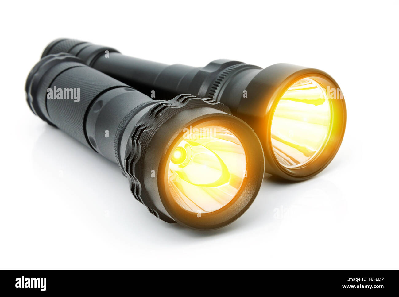 Electric LED torches isolated on a white background. Set - Stock Image