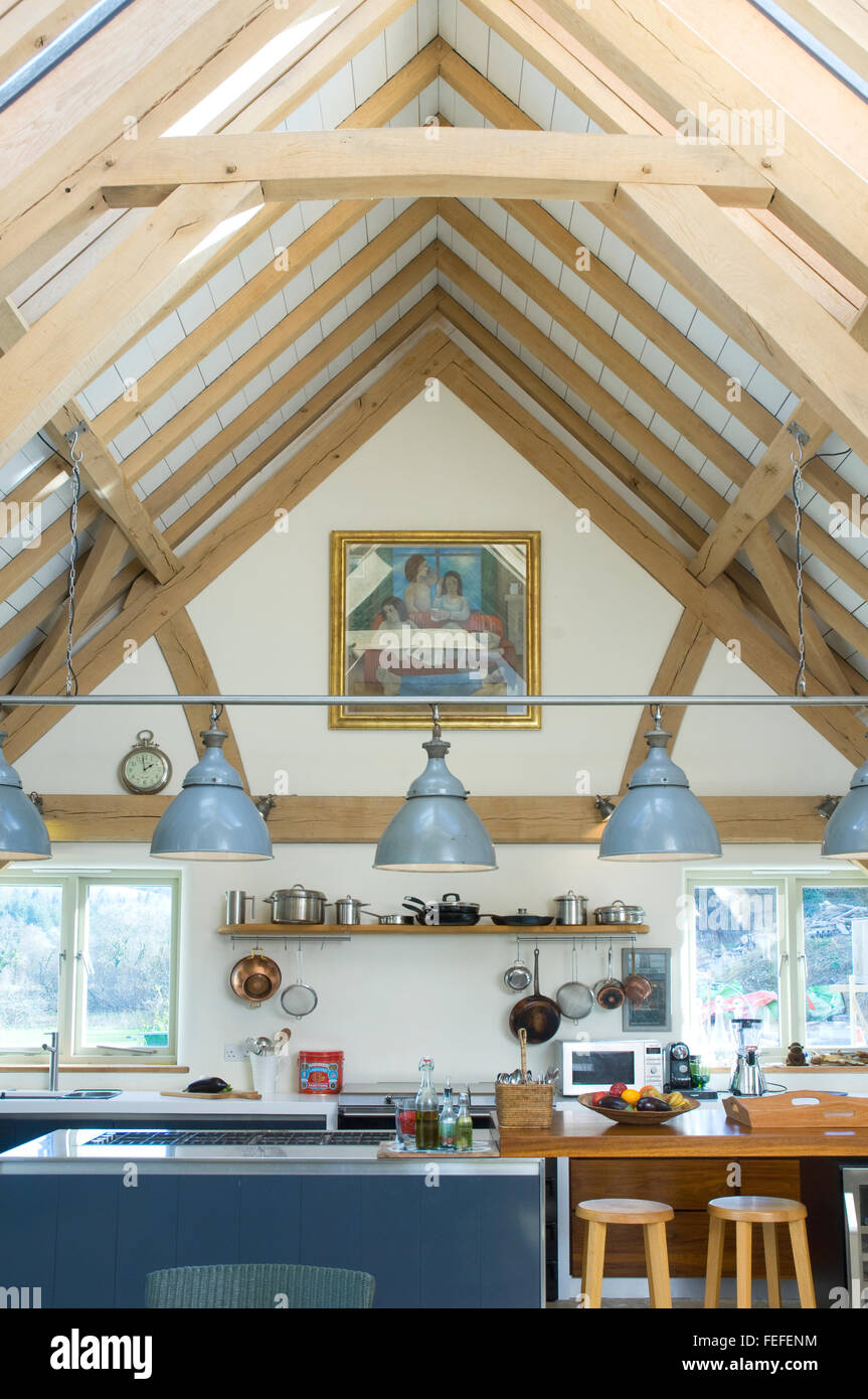 detail of oak vaulted ceiling in kitchen. - Stock Image