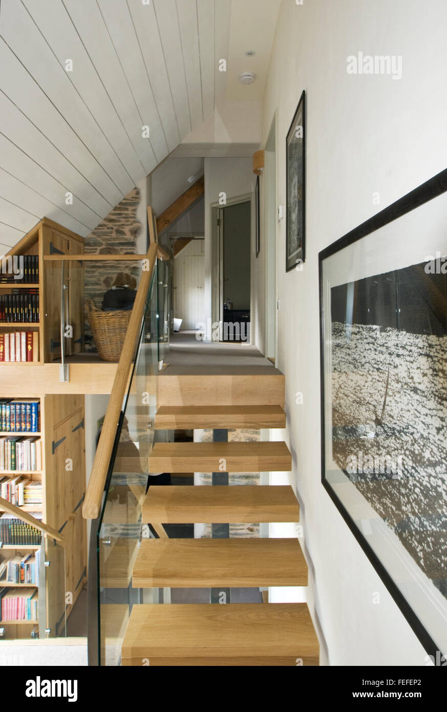 contemporary stairs in new barn conversion. - Stock Image