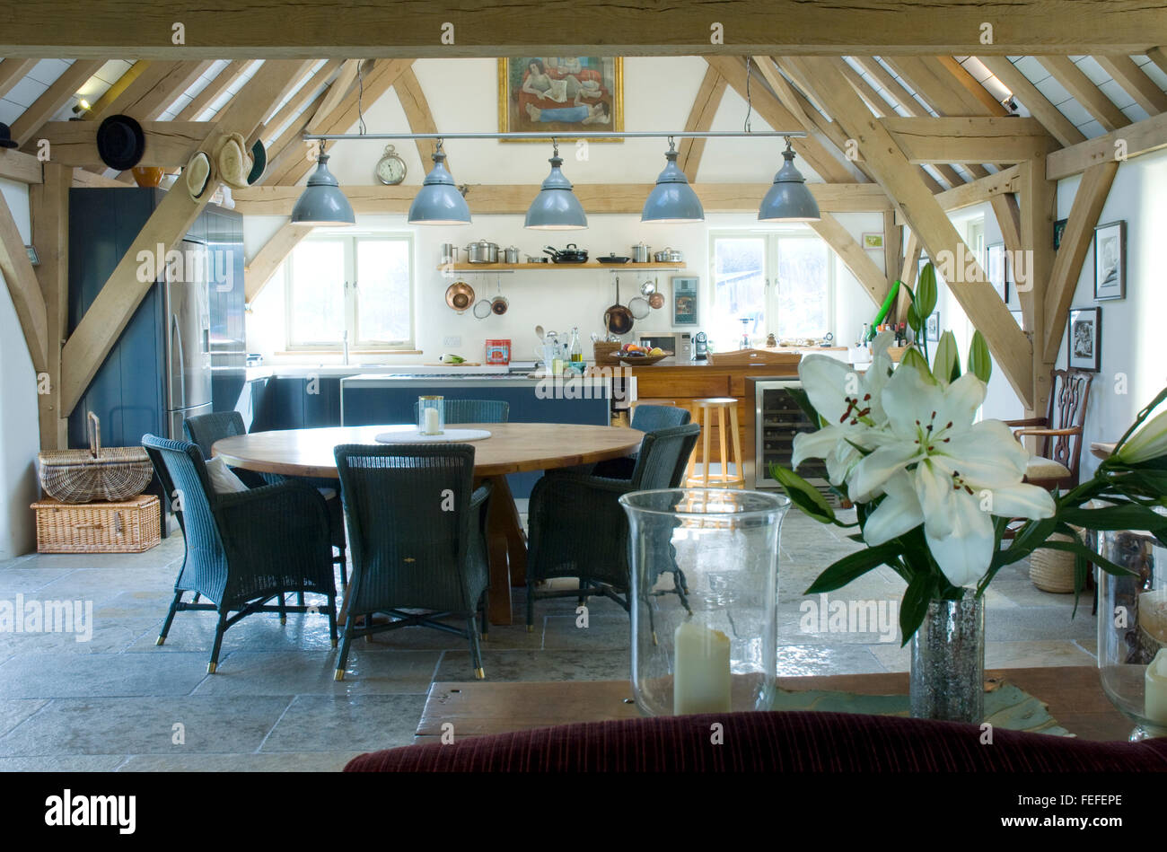 Kitchen in Barn conversion, dining area, downlights. - Stock Image