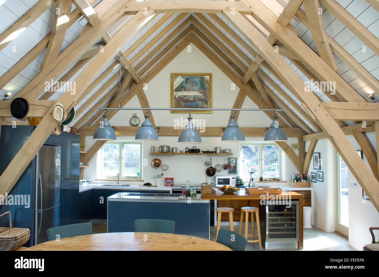 Vaulted Oak ceiling for modern kitchen. - Stock Image