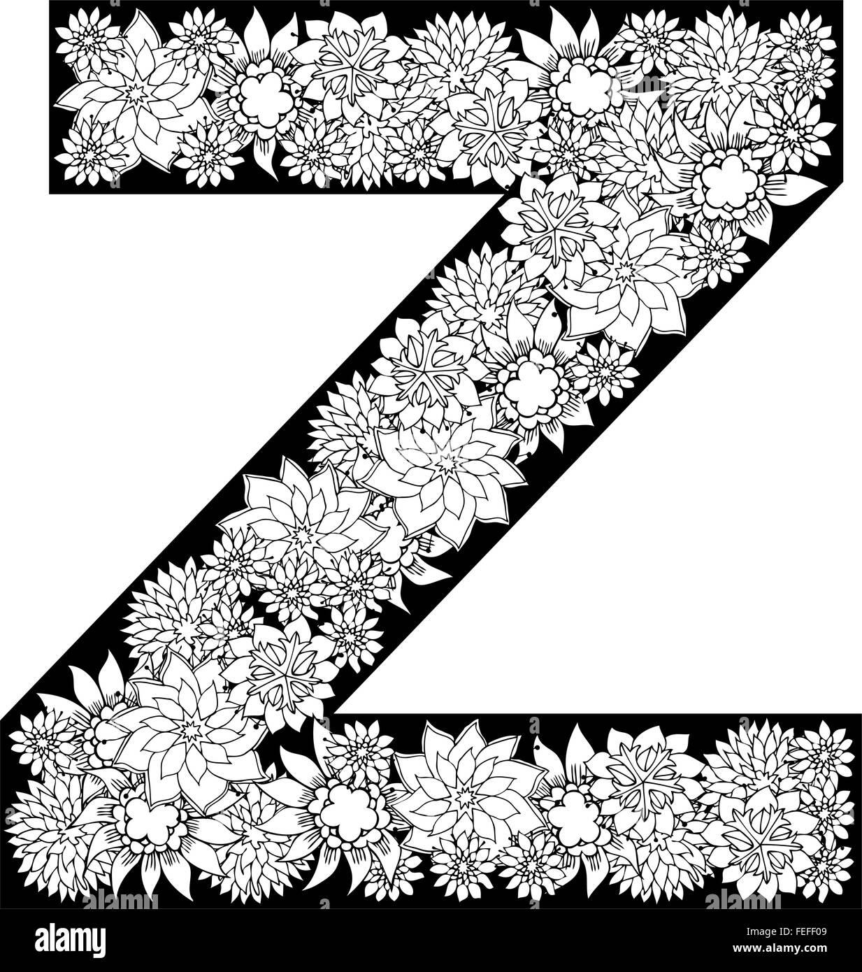 Hand drawn floral alphabet design  Letter Z Stock Vector Art