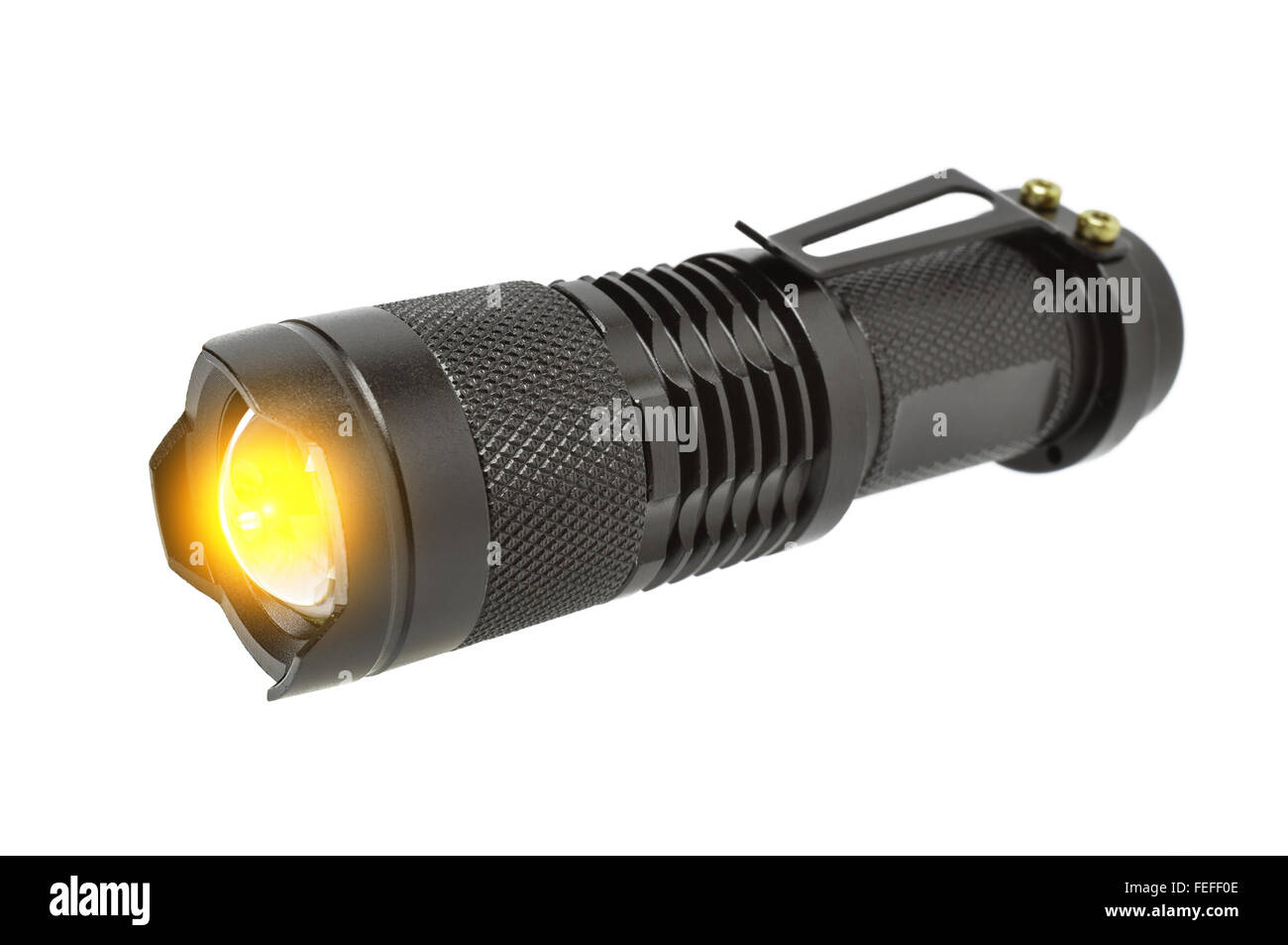 Electric LED torch isolated on a white background - Stock Image