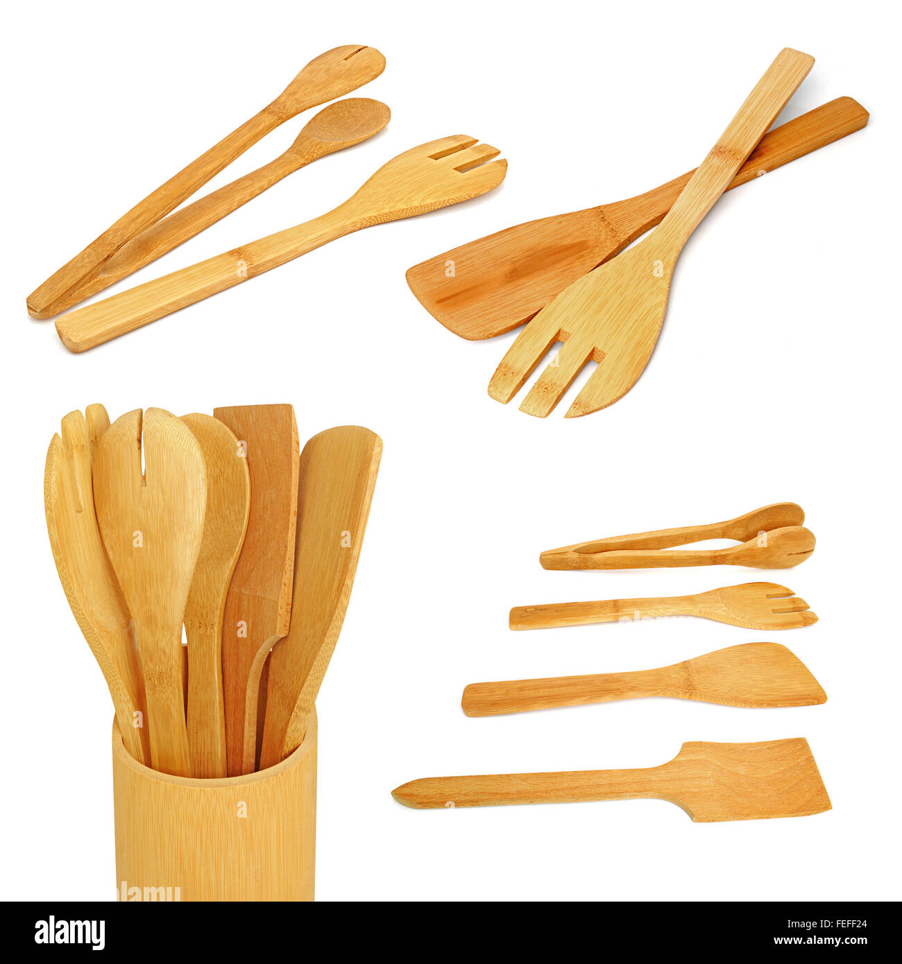 Wooden kitchen utensils on a white background. Collage - Stock Image