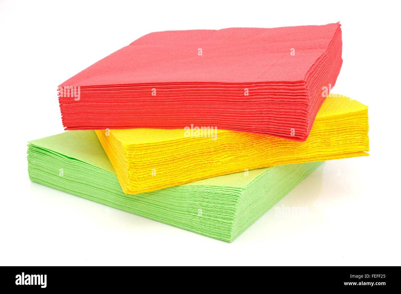 Paper table-napkins isolated on a white background - Stock Image