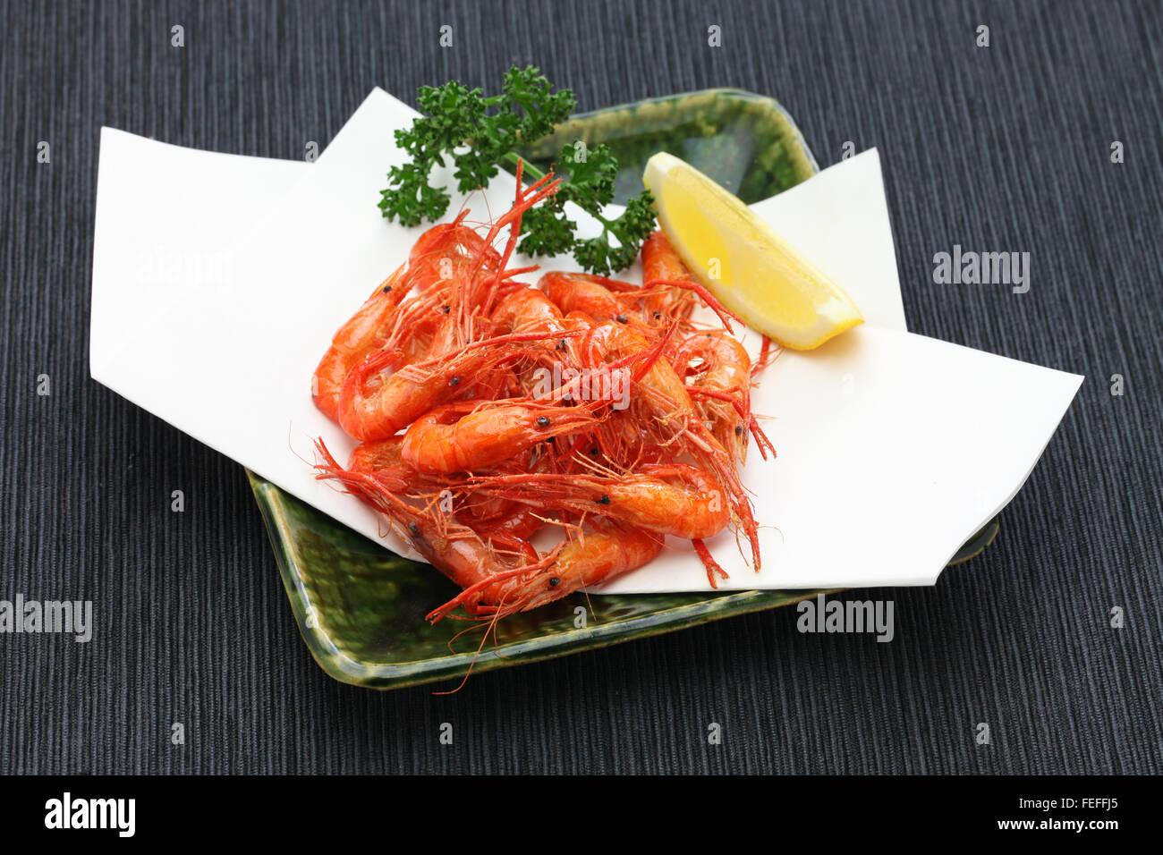 deep fried freshwater shrimp, kawaebi no karaage, japanese food - Stock Image